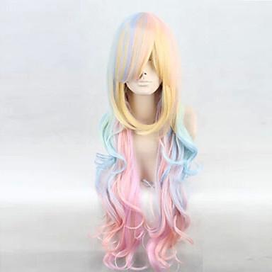 Synteettiset peruukit Kihara / Syvät aallot Epäsymmetrinen leikkaus Synteettiset hiukset Luonnollinen hiusviiva Sininen Peruukki Naisten Pitkä Suojuksettomat