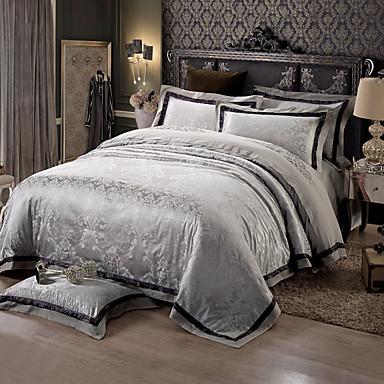 ensembles housse de couette formes g om triques 4 pi ces m lange soie coton jacquard m lange. Black Bedroom Furniture Sets. Home Design Ideas