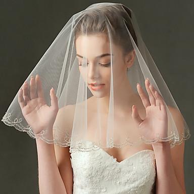 Einschichtig Perlenbesetzter Saum Hochzeitsschleier Ellbogenlange Schleier Mit Perle Tüll