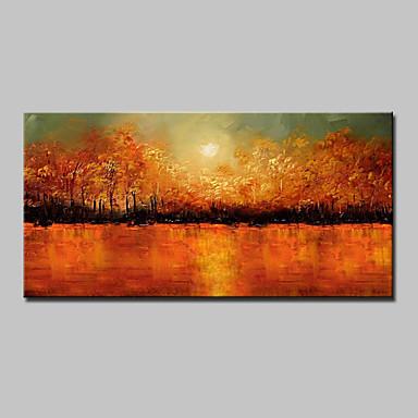 Håndmalte Abstrakt Landskap Blomstret/Botanisk Abstrakte Landskap Horisontal,Moderne Et Panel Lerret Hang malte oljemaleri For Hjem Dekor