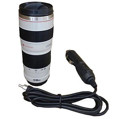 450ml Objektiv fotoaparata šalica putovanja grijanje šalica auto adapter od nehrđajućeg čelika liner izolacija šalicu kave električni