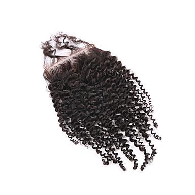 Egyenes Csipke 4x4 lezárása 100% kézi csomózású Svájci csipke Emberi haj Ingyenes rész Közel rész 3. rész