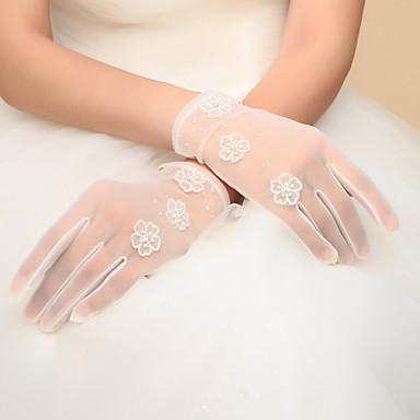 Nylon Handgelenk-Länge Handschuh Brauthandschuhe Party / Abendhandschuhe With Schleife