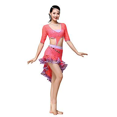 ריקוד בטן שמלות בגדי ריקוד נשים אימון תחרה תחרה אסוף חצי שרוול שמלה