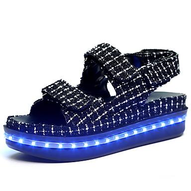 Damen Schuhe Kunststoff Frühling Sommer Herbst Komfort Leuchtende LED-Schuhe Flacher Absatz Klettverschluss für Normal Weiß Schwarz