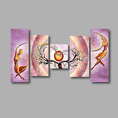 מצויר ביד מופשט / סרט מצוירמודרני חמישה פנלים בד ציור שמן צבוע-Hang For קישוט הבית