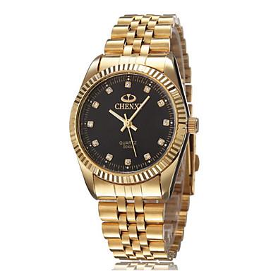 בגדי ריקוד גברים שעון יד קווארץ עמיד במים סגסוגת להקה זהב