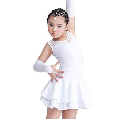 Latein-Tanz Kleider Kinder Vorstellung Elastan Polyester Spitze Mehrlagiger Rock 3 Stück Ärmellos Kleid Handschuhe