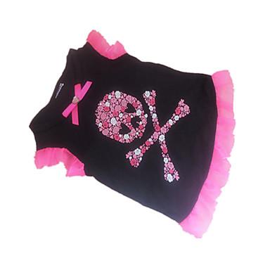 Koira T-paita Koiran vaatteet Sydän Pääkallot Musta Asu Lemmikit
