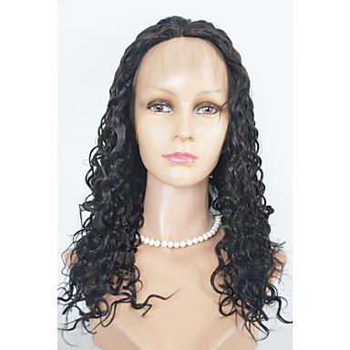 Gerçek Saç Dantelli peruk Bukle Komple Dantel Ön Dantel % 100 Elle Bağlanmış Afrp Amerikan Peruk Doğal saç çizgisi % 130 Yoğunluk