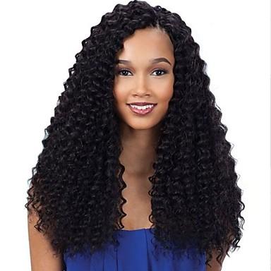 Ekte hår Helblonde Blonde Forside Parykk Bølget 130% 150% 180% tetthet 100 % håndknyttet Afroamerikansk parykk Naturlig hårlinje Kort