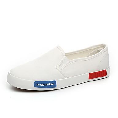 Kényelmes / Stílus-Lapos-Női cipő-Balerinek / Mokaszinek / Bebújós-Szabadidős / Alkalmi-Vászon-Fekete / Fehér