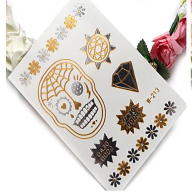 1pc High-End-Heißprägeeisen Silber wasserdicht Metall Tattoo-Aufkleber