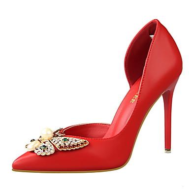 נעלי נשים-בלרינה\עקבים-דמוי עור-עקבים / שפיץ / סגור-שחור / ורוד / אדום / לבן / אפור-שמלה-עקב סטילטו