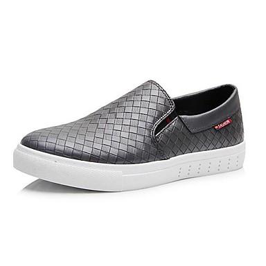 Herrn Schuhe PU Frühling Herbst Komfort Loafers & Slip-Ons für Normal Büro & Karriere Draussen Weiß Schwarz Grau
