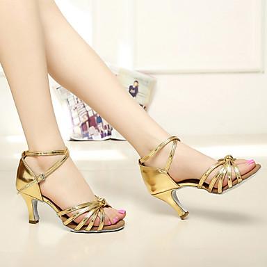 baratos Sapatos de Salsa-Mulheres Sapatos de Dança Cetim Sapatos de Dança Latina / Sapatos de Salsa Presilha Sandália Salto Personalizado Personalizável Marrom / Dourado / Azul Real / Couro / EU40
