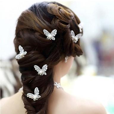 Imitação de Pérola Liga Decoração de Cabelo Pino de cabelo with Floral 1pç Casamento Ocasião Especial Capacete