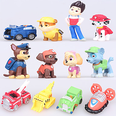 Actionfigurer Hunder Bil Plast Jente Gutt Gave 12pcs