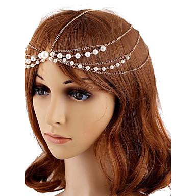 imitação de liga de pérolas cabeça cabeça cabeça estilo feminino clássico