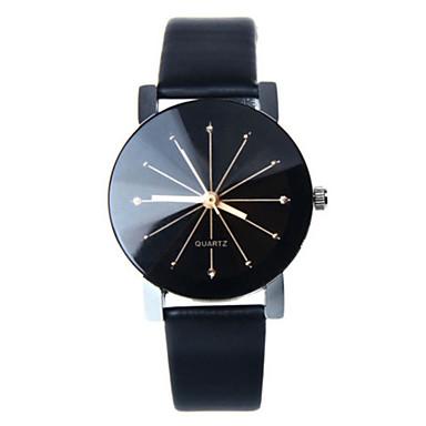 Damen Quartz Armbanduhr Armbanduhren für den Alltag Leder Band Charme Modisch Schwarz Weiß Blau Rot Braun Rosa