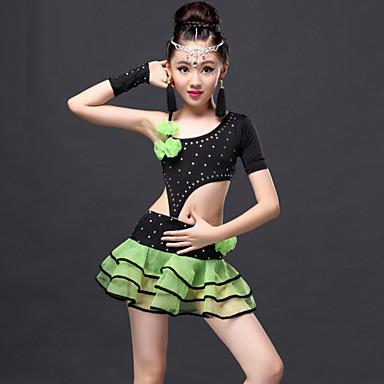 ריקוד לטיני תלבושות בגדי ריקוד ילדים הופעה ויסקוזה עטוף עליון חצאית כפפות