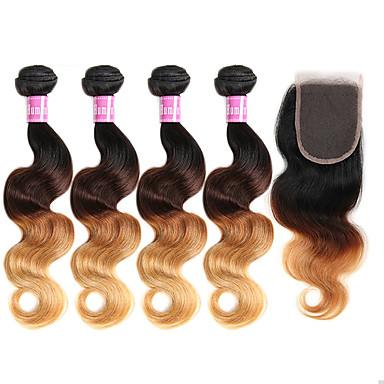 お買い得  ワンパックソリューション-閉鎖した4バンドル ブラジリアンヘア ウェーブ バージンヘア 閉鎖が付いている毛横糸 8-30 インチ 人間の髪織り オンブレヘア 人間の髪の拡張機能