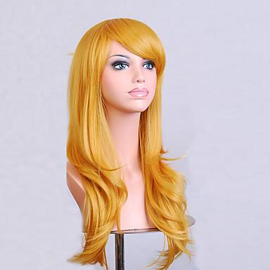 Synthetische Perücken Damen Locken / Natürlich gewellt Gold Asymmetrischer Haarschnitt Synthetische Haare Natürlicher Haaransatz Gold Perücke Mittlerer Länge / Lang Kappenlos Gelb