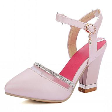 Damen Mädchen Schuhe Kunstleder Frühling Sommer Herbst Blockabsatz Strass Für Kleid Weiß Blau Rosa
