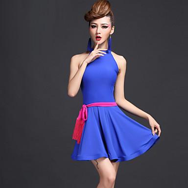 Latein-Tanz Kleider Damen Leistung Chinlon Viskose Drapiert Kleid Gürtel Unterhose
