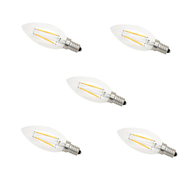 5adet e14 2w 180lm sıcak / soğuk beyaz 360 derece edison filament ışık led mum ampul (220v)
