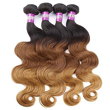 Maláj haj Hullámos haj Szűz haj Ombre 4 csomópont Emberi haj sző Human Hair Extensions