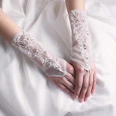 Nejlon Csukló Kesztyű Menyasszonyi kesztyűk Estélyi kesztyűk With Gyöngydíszítés