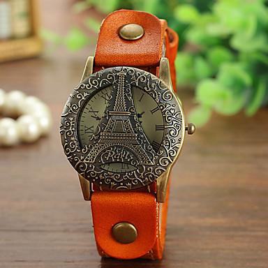 Damen Modeuhr Quartz Armbanduhren für den Alltag Leder Band Schwarz Weiß Blau Braun Grün Gelb Mehrfarbig