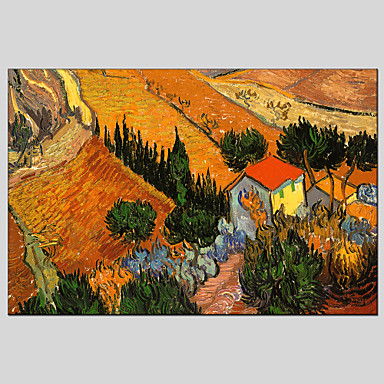 מצויר ביד נוף אבסטרקטמודרני / קלאסי / ריאליסטי / פסטורלי / סגנון ארופאי פנל אחד בד ציור שמן צבוע-Hang For קישוט הבית