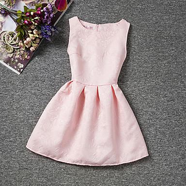 お買い得  女児 ドレス-子供 女の子 シンプル 日常 お出かけ ソリッド ノースリーブ コットン ドレス ルビーレッド / キュート