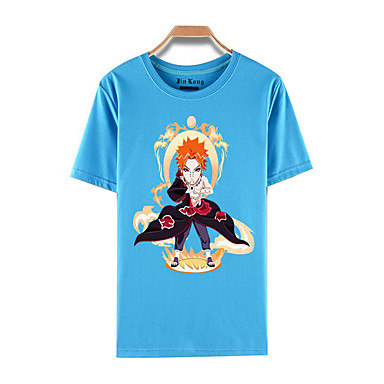 Ihlette Naruto Akatsuki Anime Szerepjáték jelmezek Cosplay póló Nyomtatott Rövid ujjú Felső Kompatibilitás Férfi