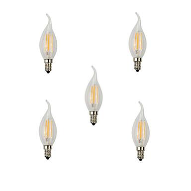 5pcs 360 lm E14 LED Filaman Ampuller CA35 4 led Yüksek Güçlü LED Dekorotif Sıcak Beyaz Serin Beyaz AC 220-240 V