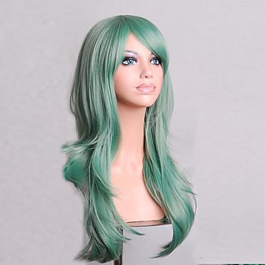 Kobieta Peruki syntetyczne Tkany maszynowo Medium Naturalne fale Green cosplay peruka Costume Peruki