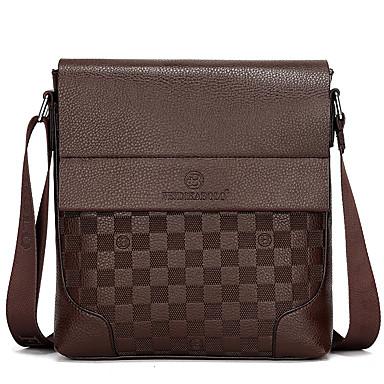 cheap Bags-Men's Crossbody Bag PU(Polyurethane) Solid Colored Black / Brown / Khaki / Messenger