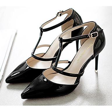 Mulheres Sapatos Couro Envernizado Outono Conforto Saltos Salto Agulha Presilha Amarelo / Vermelho / Rosa claro