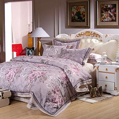 Bettbezug-Sets Blumen 4 Stück Baumwolle Reaktivdruck Baumwolle 1 Stk. Bettdeckenbezug 2 Stk. Kissenbezüge 1 Stk. Betttuch