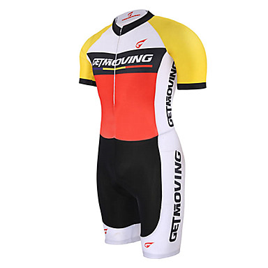 GETMOVING Tri Suit Unisex Short Sleeve Bike Tracksuit Bib TightsQuick Dry Anatomic Design Moisture Permeability Breathable Compression