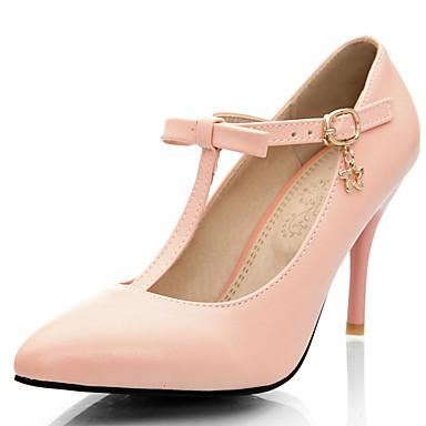 נעלי נשים-בלרינה\עקבים-דמוי עור-עקבים / רצועת T / שפיץ-כחול / ורוד / סגול-מסיבה וערב / שמלה-עקב סטילטו