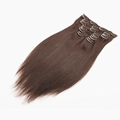 Vollkopfclip in den Menschenhaarverlängerungen natürliche schwarze Haare 70g / 7pcs gerade brasilianischer Haarclip in den Verlängerungen