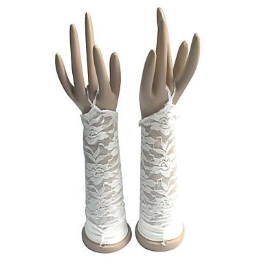Kyynärpääpituus Sormettomat Glove Puuvilla Morsiuskäsineet Juhlakäsineet Kevät Kesä Syksy Talvi Pitsi