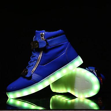 Miehet kengät Nahka Kevät Kesä Syksy Talvi Comfort Välkkyvät kengät Solmittavat Tarranauhalla Käyttötarkoitus Kausaliteetti Valkoinen