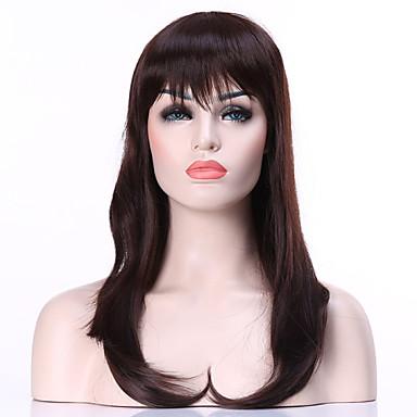 συνθετικά μαλλιά περούκες μόδας σκούρο καφέ μεγάλη ευθεία της γυναίκας