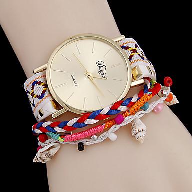 בגדי ריקוד נשים שעוני אופנה שעון צמיד קווארץ PU להקה פרח שחור לבן כחול ורוד