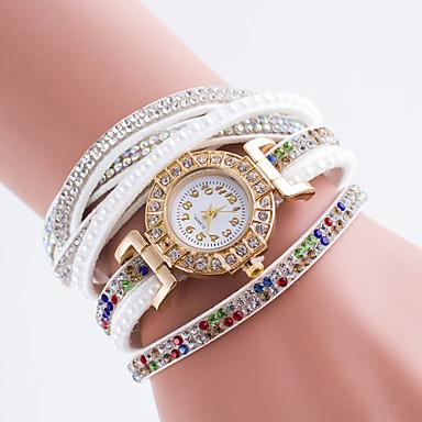 Mulheres Relógio de Moda Simulado Diamante Relógio Quartzo PU Banda Preta Branco Azul Vermelho Marrom Verde Rosa Cáqui RoseVerde Azul