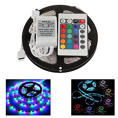 z®zdm 5m 300x2835 vanntett smd RGB LED stripe lys IP65 med 24key fjernkontroll (DC12V)